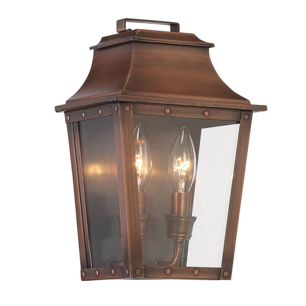 Coventry Copper Patina 11-Inch Two-Light Outdoor Wall Mount, image 1