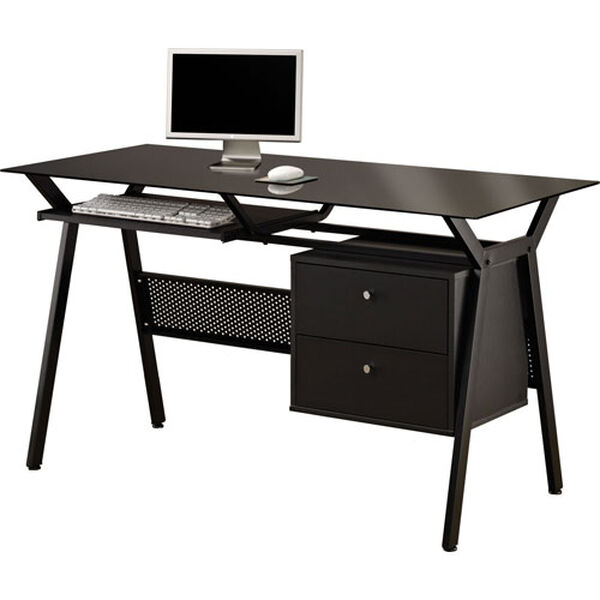 Black Metal and Glass Computer Desk with Two Storage Drawers, image 1