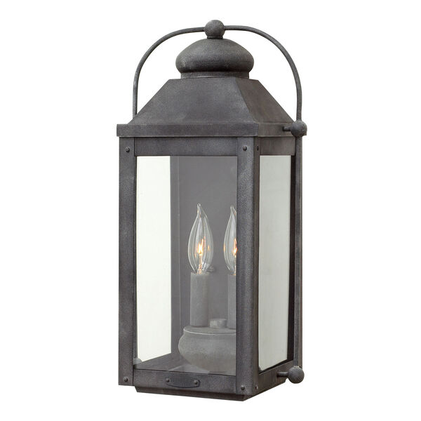 Anchorage Aged Zinc Two-Light Outdoor Wall Sconce, image 1