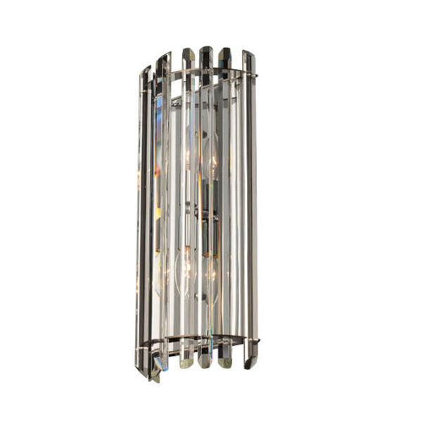 Viano Polished Chrome Two-Light Wall Sconce with Firenze Crystal, image 1