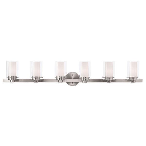 Manhattan Brushed Nickel 47.5-Inch Six-Light Bath Light, image 1