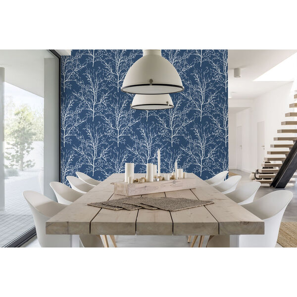 NextWall Blue Tree Branches Peel and Stick Wallpaper, image 5