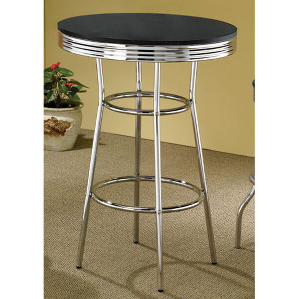 Cleveland Fifties Soda Fountain Chrome Bar Table with Black Top, image 1