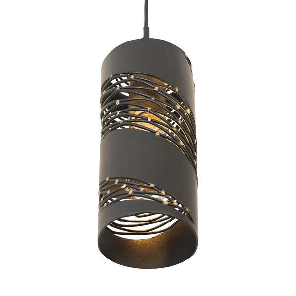 Flow Matte Black French Gold One-Light Mini Pendant, image 3