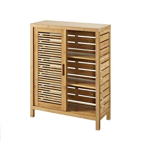 Navaeh Natural Bamboo Bathroom Two Door Floor Cabinet, image 2