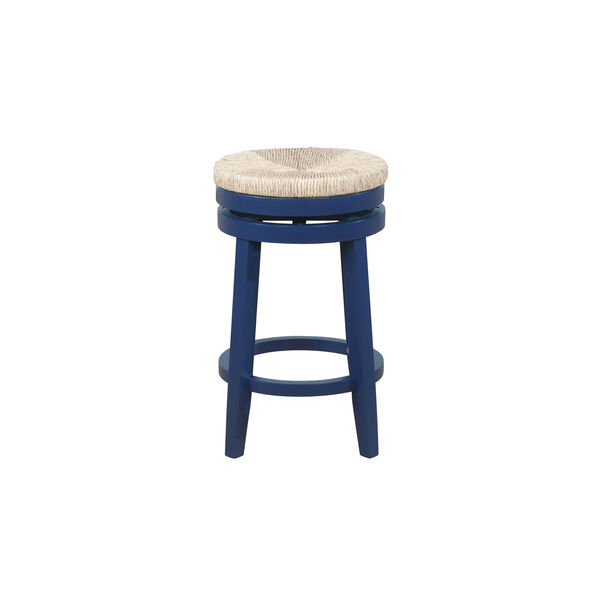 Ellie Navy Blue and Natural 25-Inch Swivel Counter Stool, image 5