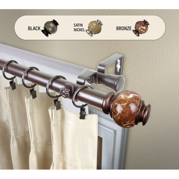 Bronze 170-Inch Marble Double Curtain Rod, image 2