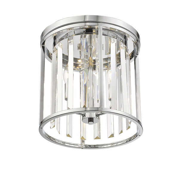 Monarch Chrome 12-Inch Three-Light Flush Mount With Transparent Crystal, image 3