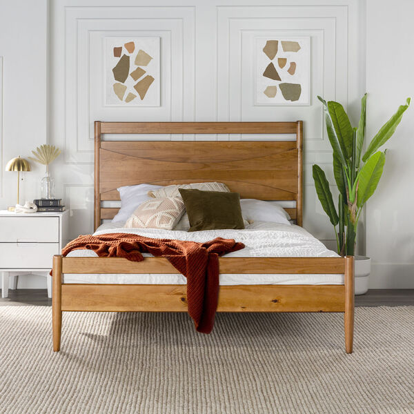 Atticus Caramel Beveled Headboard Solid Wood Queen Bed, image 2