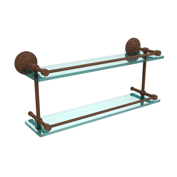 Que New 22-Inch Double Glass Shelf with Gallery Rail, image 1