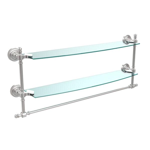 Retro Dot Satin Chrome 24 Inch Double Glass Shelf with Towel Bar, image 1