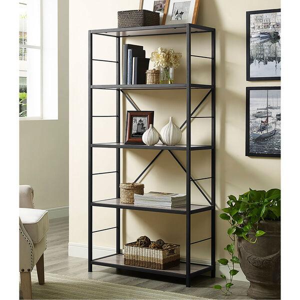 60-inch Rustic Metal and Wood Media Bookshelf - Driftwood, image 1