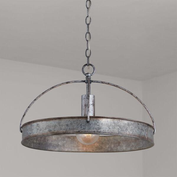 Alvin Antique Galvanized Metal Ring One-Light Pendant, image 6