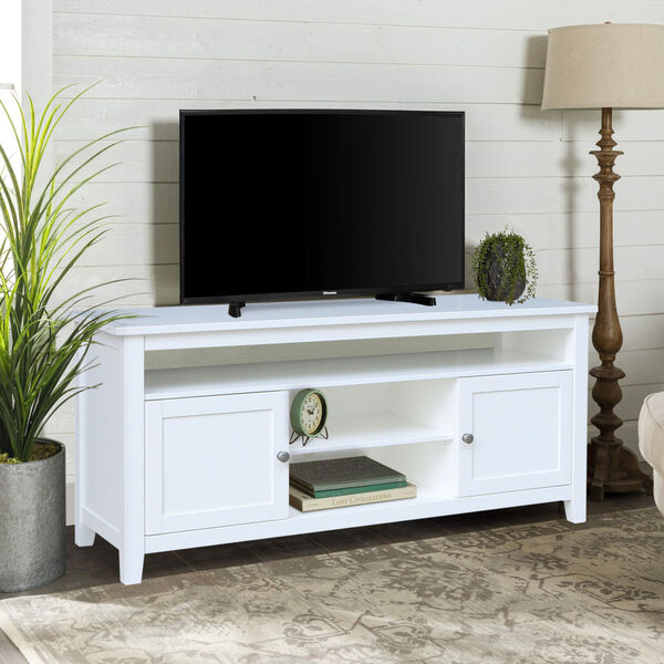 White 57-Inch TV Stand with Two Door, image 1