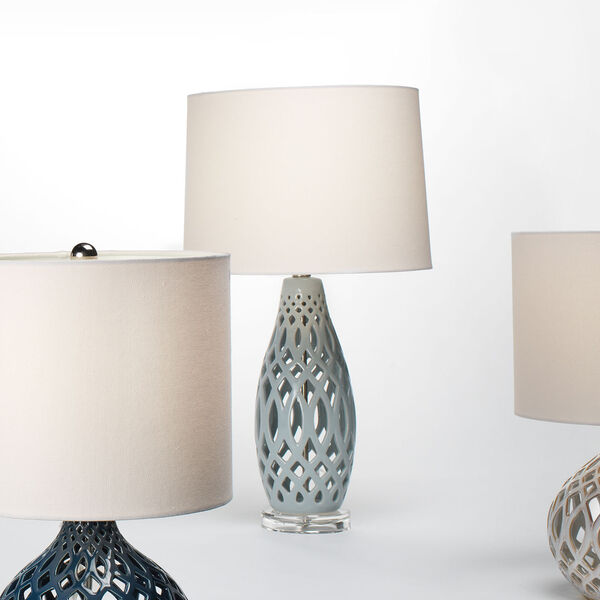 Cora Pale Blue and White One-Light Table Lamp, image 3
