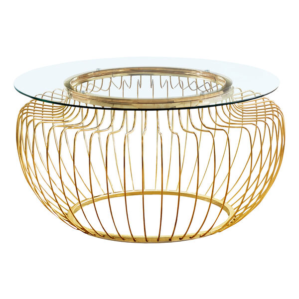 Gold Coffee Table with Tempered Glass, image 1