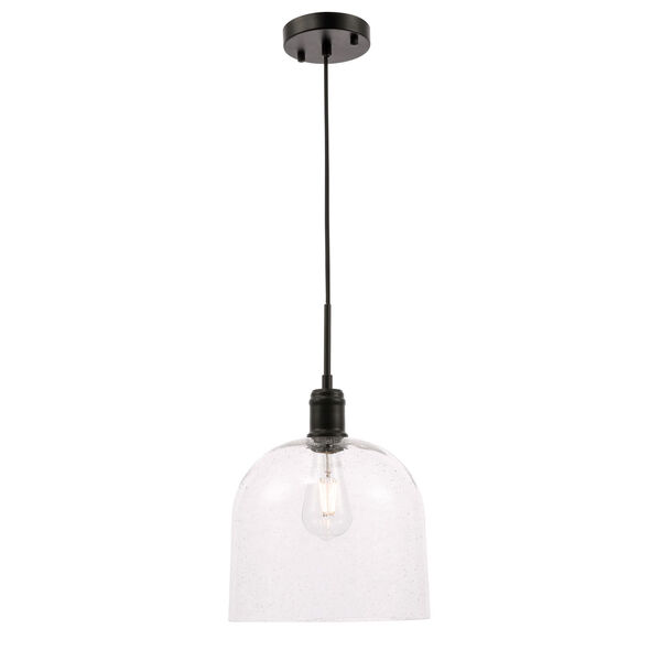 Gabe Black 10-Inch One-Light Pendant with Clear Seeded Glass, image 1