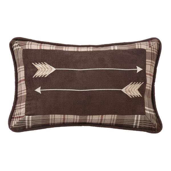 Huntsman Brown and Tan 12 In. X 19 In. Embroidery Arrow Throw Pillow, image 1