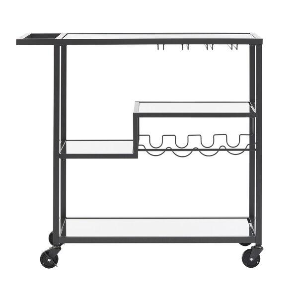 Juan Black Glass Top Metal Bar Cart, image 4