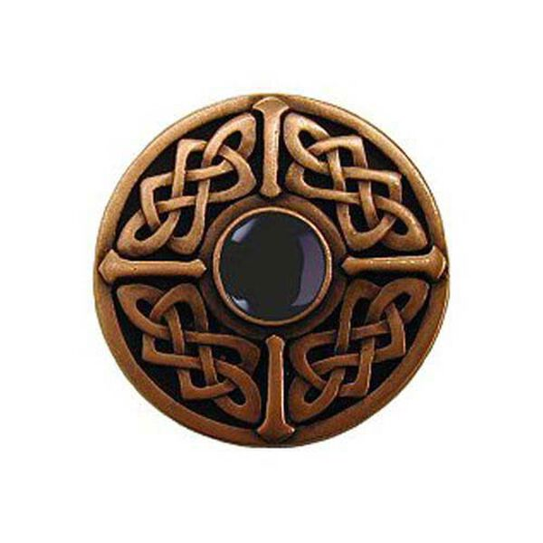 Antique Copper Onyx Celtic Jewel Knob, image 1