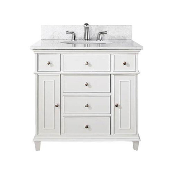 Windsor 36-Inch White Vanity with Carrera White Marble top and Undermount Sink, image 1