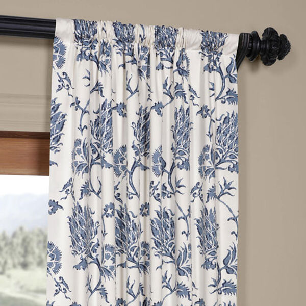 Royal Blue 84 x 50 In. Printed Cotton Twill Curtain Single Panel, image 3