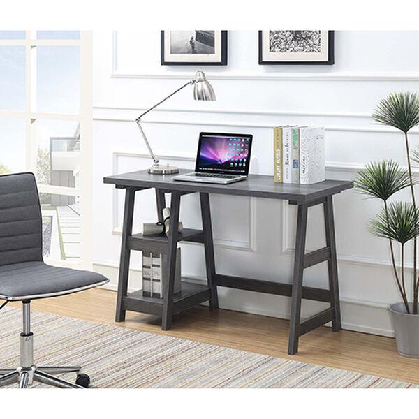 Designs2Go Charcoal Gray Trestle Desk, image 1