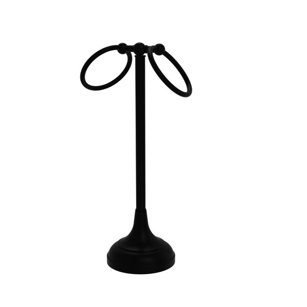 Tribecca Matte Black Two Ring Guest Towel Holder, image 1