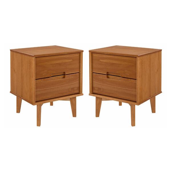 Sloane Caramel Two-Drawer Groove Handle Wood Nightstand, Set of Two, image 1