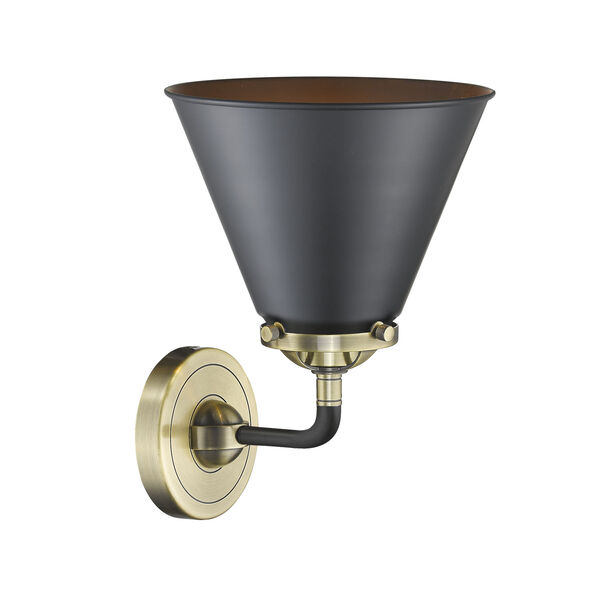 Nouveau Black Antique Brass Nine-Inch One-Light Wall Sconce with Matte Black Metal Shade, image 2