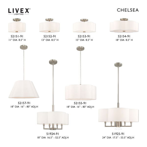 Chelsea Brushed Nickel 13-Inch Two-Light Ceiling Mount with Hand Crafted Off-White Hardback Shade, image 5