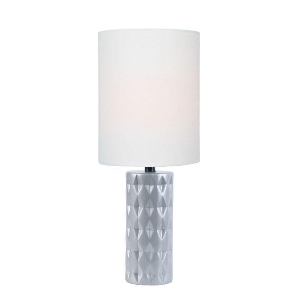 Delta Silver White Linen One-Light Table Lamp, image 1