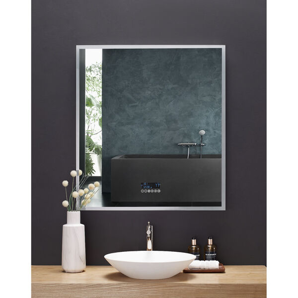 Immersion White 36 x 40 Inch LED Frameless Mirror with Bluetooth Defogger and Digital Display, image 3