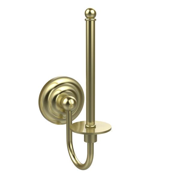 Satin Brass Upright Toilet Paper Holder, image 1