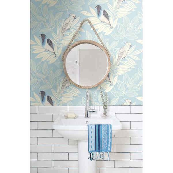 Boho Rhapsody Blue Oasis and Ivory Paradise Island Birds Unpasted Wallpaper, image 1