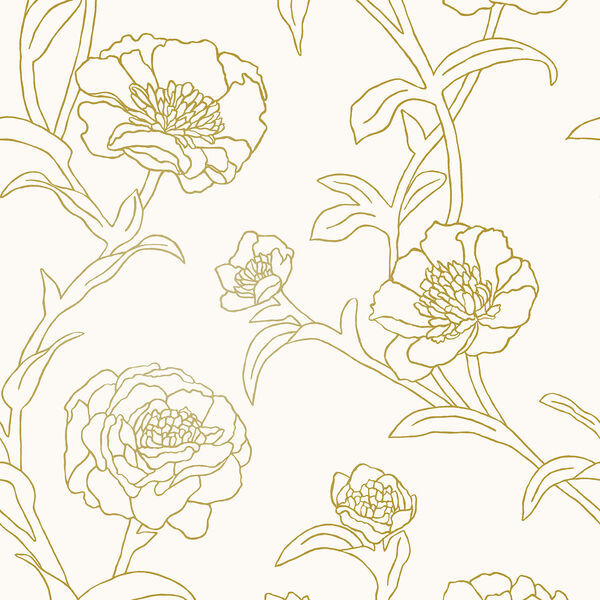 Peonies Gold Leaf Removable Wallpaper, image 2