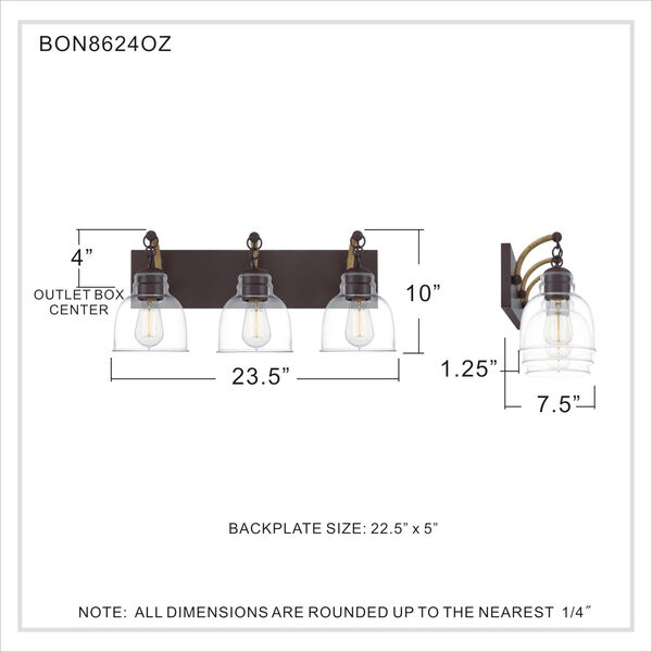 Bosun Old Bronze Three-Light Bath Vanity with Transparent Glass, image 6