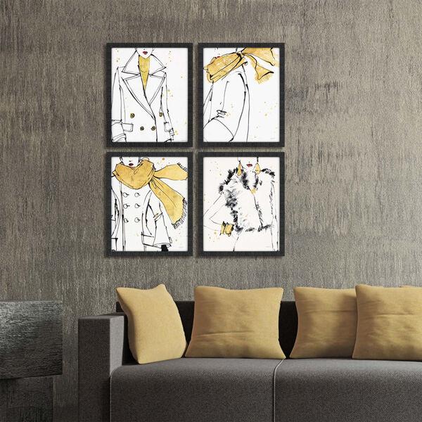 Fashion Strokes Yellow Framed Art, Set of Four, image 1