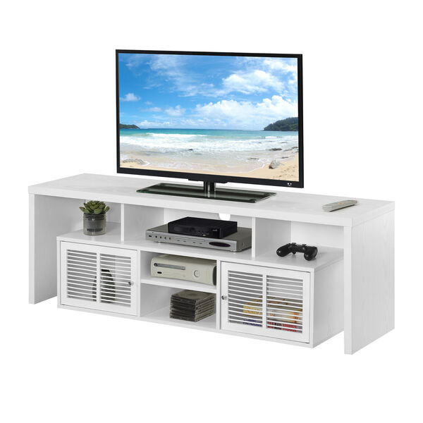 Lexington White 60-Inch TV Stand with Storage Cabinets and Shelves, image 3