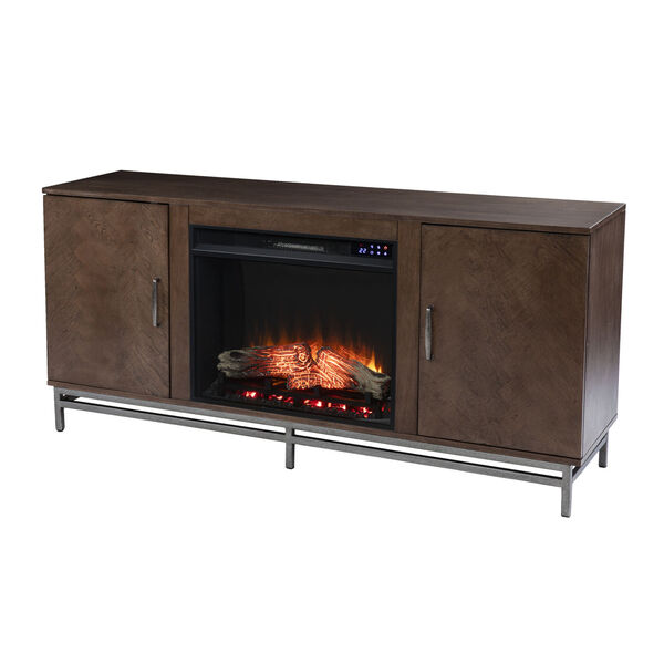Dibbonly Brown and matte silver Electric Fireplace with Media Storage, image 2