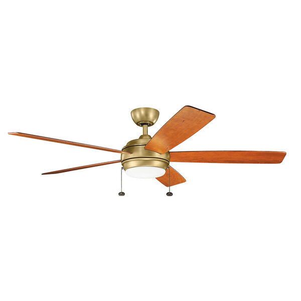 Starkk Natural Brass 60-Inch LED Ceiling Fan with Light Kit, image 1