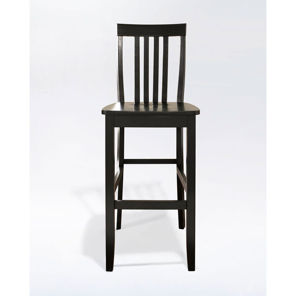 School House Bar Stool in Black Finish with 30 Inch Seat Height- Set of Two, image 2