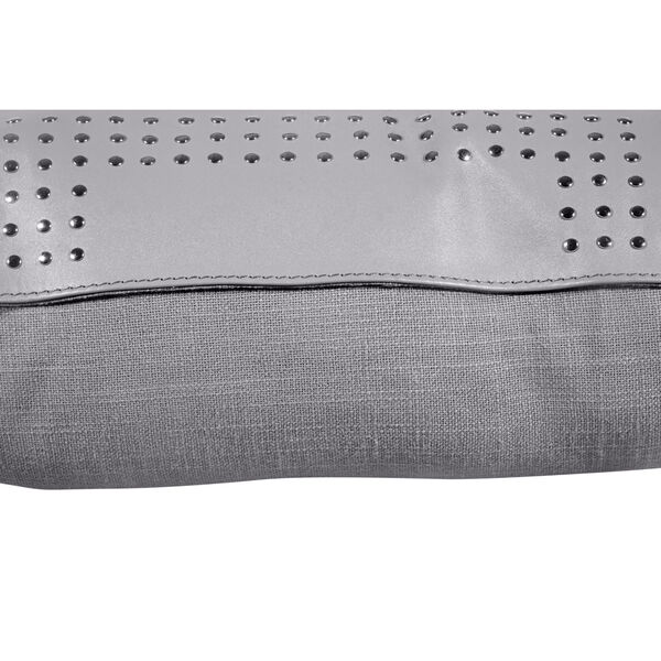Gray 20 In. X 20 In. Geometric Studded Leather Throw Pillow, image 6