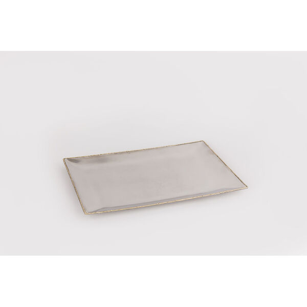 Frosted Nickel Gold Rectangular Tray with Gold Trim, image 1