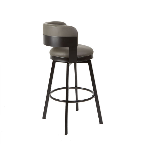 William Charcoal and Dark Rubbed Bronze Upholstered Swivel Barstool, image 2