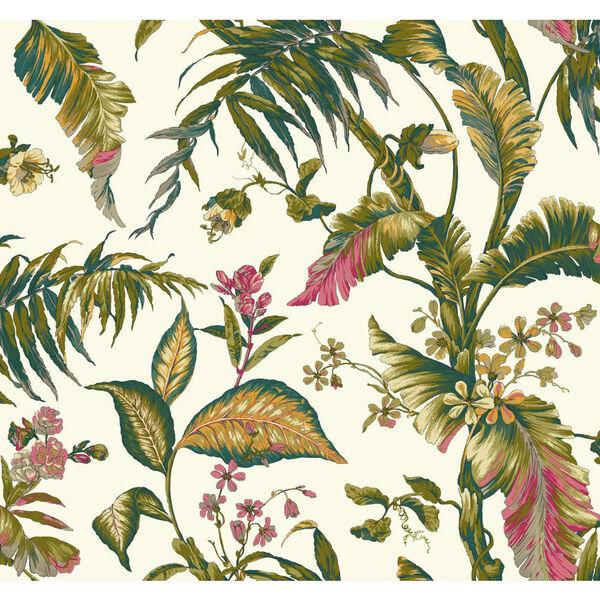 Ashford House Tropics White and Dark Green Fiji Garden Wallpaper, image 1