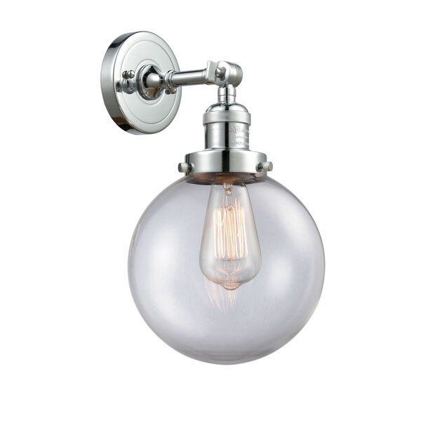 Franklin Restoration Polished Chrome Eight-Inch LED Wall Sconce with Clear Glass Shade, image 1