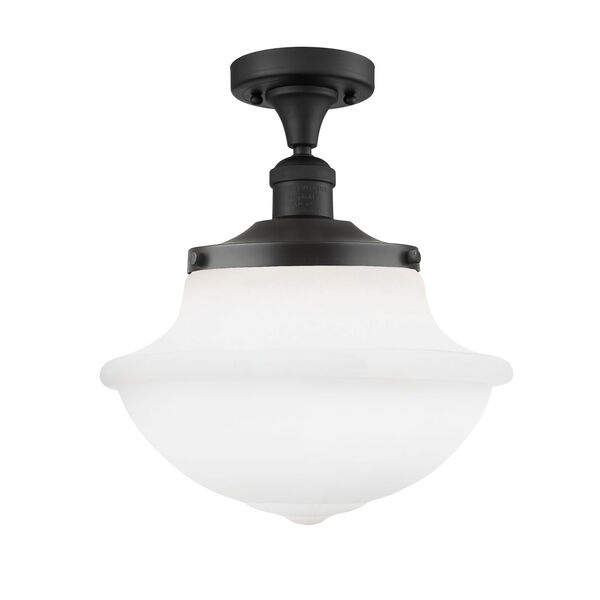 Franklin Restoration Oil Rubbed Bronze 14-Inch One-Light Semi-Flush Mount with Matte White Cased Large Oxford Shade, image 1