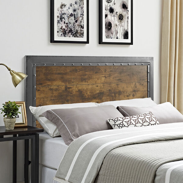 Queen Size Industrial Wood and Metal Panel Headboard - Brown, image 1
