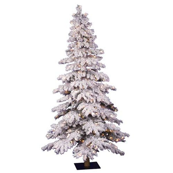 Flocked Spruce 7-Foot Alpine w/400 Clear Dura-Lit Lights and 886 Tips, image 1